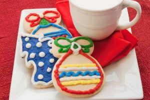 Christmas cookies on a plate.